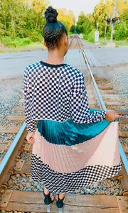 """Emery"" Checkerboard Pleated Skirt"