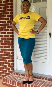 """Kelsey"" Pencil Skirt- Teal (Plus Size Only)"
