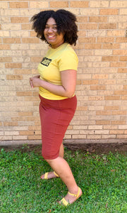 """Kelsey"" Pencil Skirt- Rust (Plus Sizes Available)"