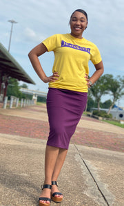 """Kelsey"" Pencil Skirt- Plum (Plus Size Available)"