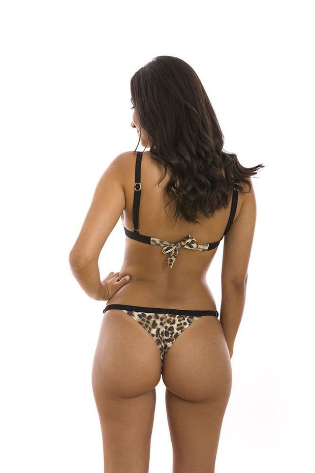 Jaguar Animal Print Brazilian Thong Bikini Bottom