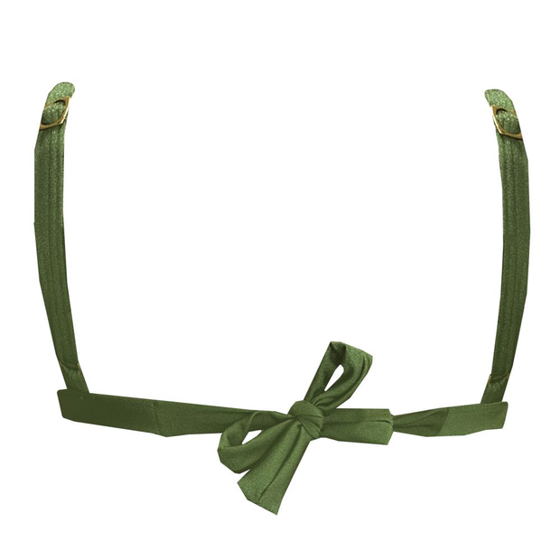 Glowing Military Green Brazilian Fixed Triangle Bikini Top