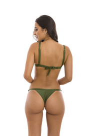 Glowing Military Green Brazilian Thong Bikini Bottom