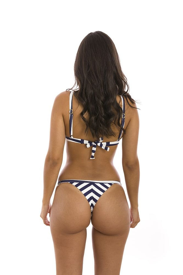 Blue Navy Stripes Brazilian Fixed Triangle Bikini Top