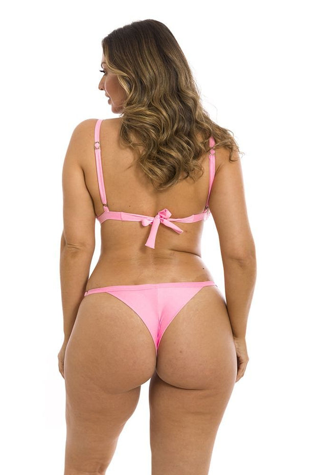 Solid Pink Cotton Candy Brazilian Thong Bikini Bottom