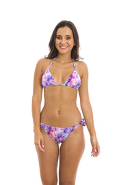 Purple Tie Dye Brazilian Tie Side Scrunch Bikini Bottom