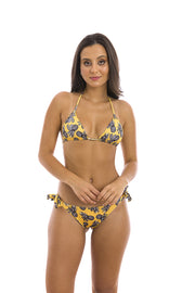Yellow Honolulu Brazilian Tie Side Scrunch Bikini Bottom