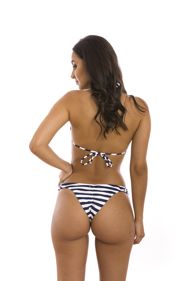 Blue Navy Stripes Brazilian Classic Side Scrunch Bikini Bottom