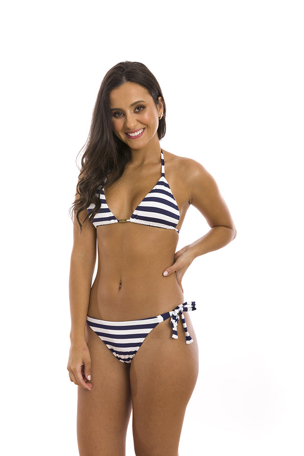 Blue Navy Stripes Brazilian Tie Side Scrunch Bikini Bottom
