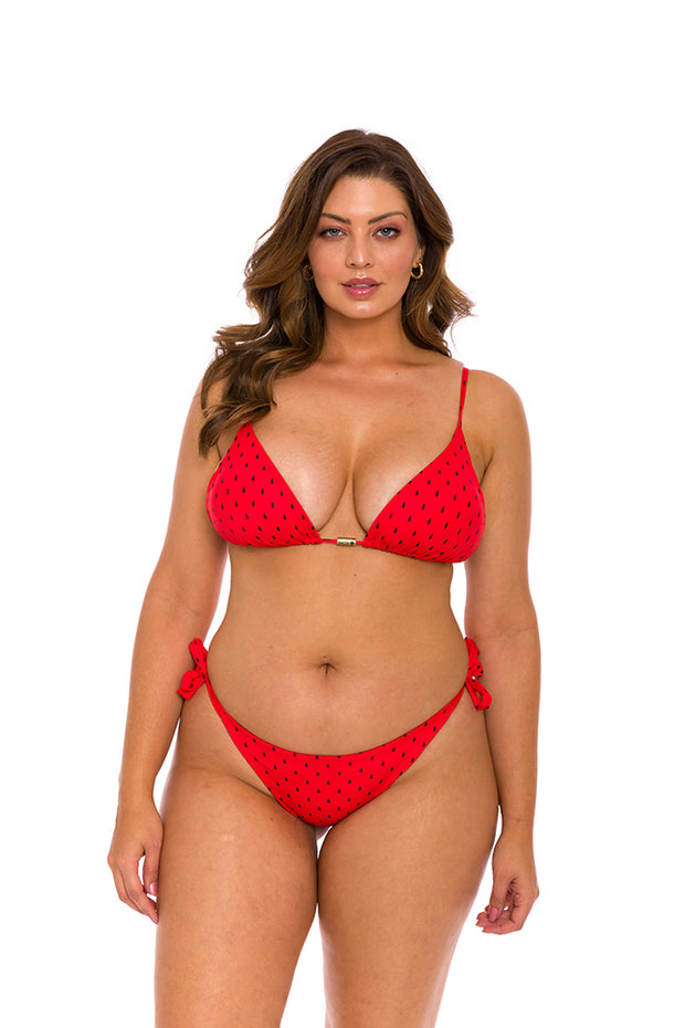 Red Watermelon Brazilian Tie Side Scrunch Bikini Bottom