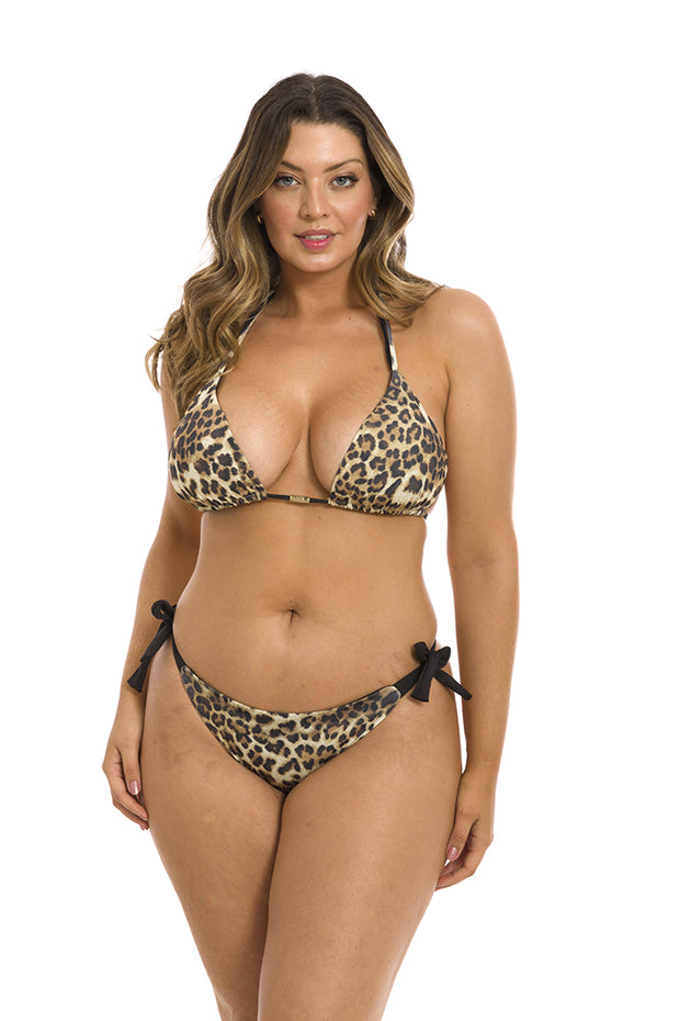 Jaguar Animal Print Brazilian Tie Side Scrunch Bikini Bottom