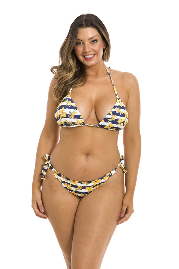 Yellow Orchid Brazilian Tie Side Scrunch Bikini Bottom