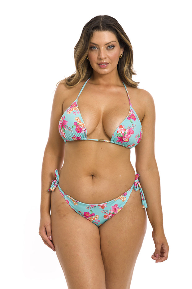 Blue Hawaii Flowers Brazilian Tie Side Scrunch Bikini Bottom