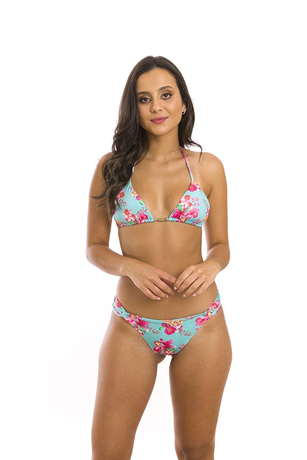 Blue Hawaii Flowers Brazilian Classic Side Scrunch Bikini Bottom
