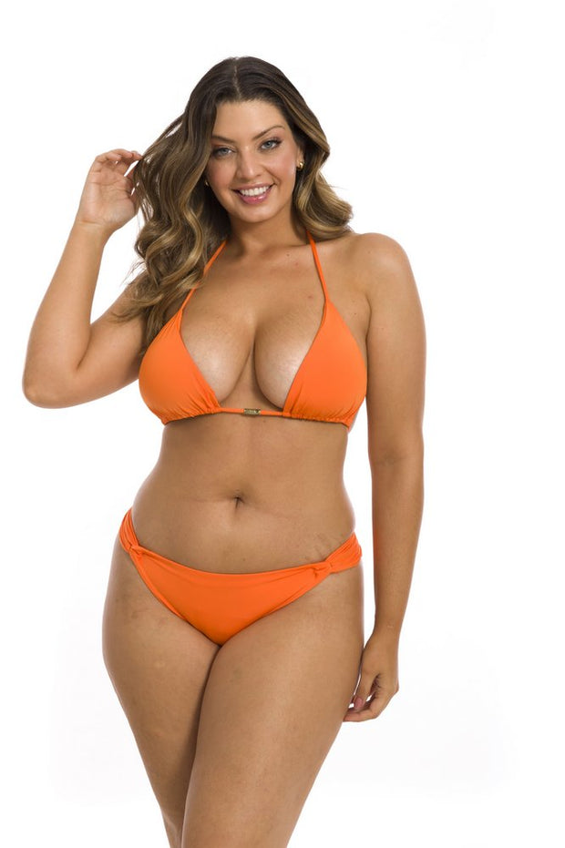 Solid Orange Brazilian Classic Side Scrunch Bikini Bottom