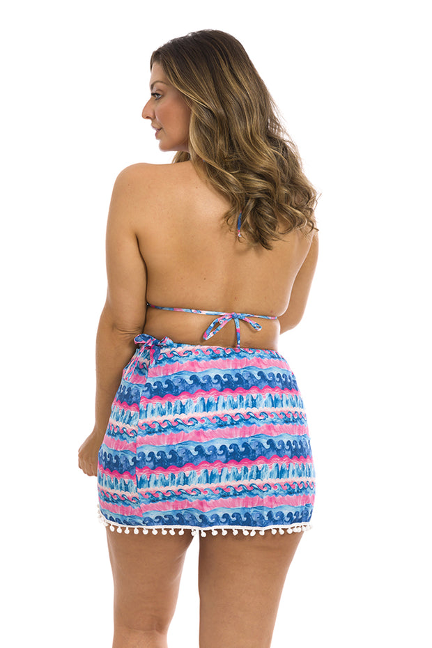 Pink Miami Blue Waves Swim Cover Up Pareo Skirt