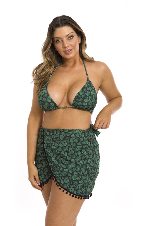 Green Waves Swim Cover Up Pareo Skirt