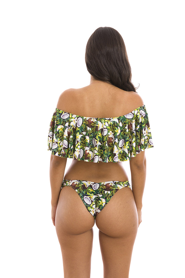 Green Coconut Brazilian Flounce Off Shoulder Bikini Top