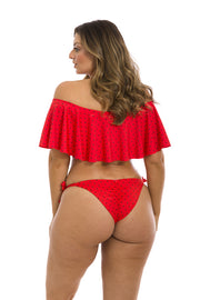 Red Watermelon Brazilian Flounce Off Shoulder Bikini Top