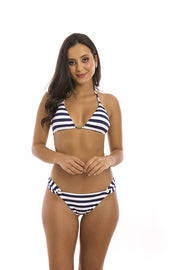 Blue Navy Stripes Brazilian Triangle Bikini Top