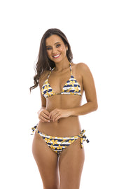 Yellow Orchid Brazilian Triangle Bikini Top