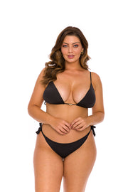 Solid Black Brazilian Triangle Bikini Top