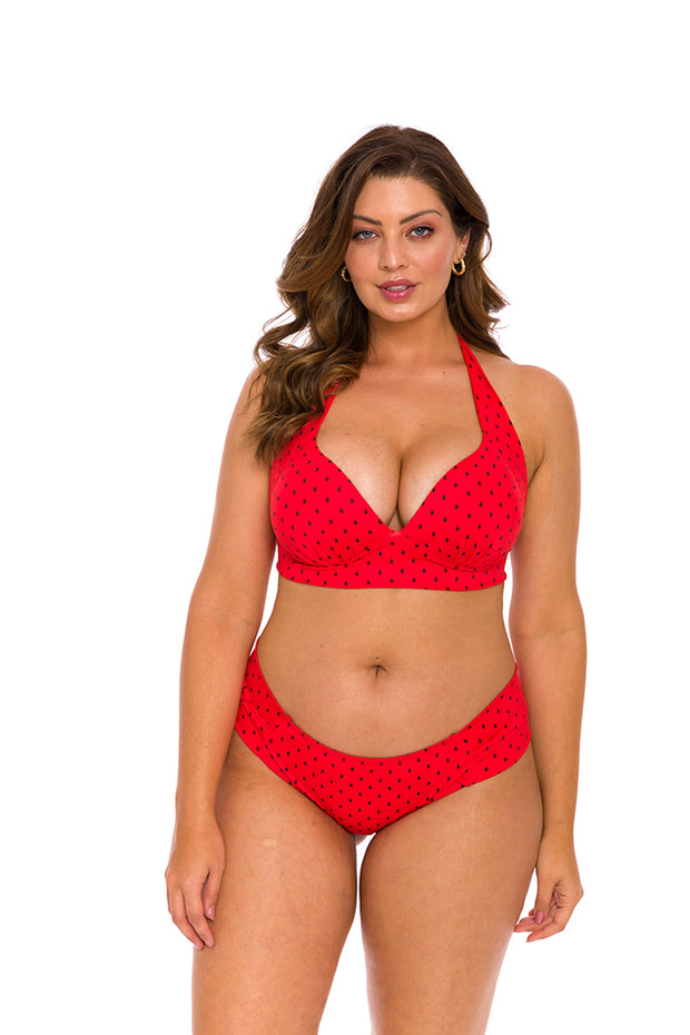 Red Watermelon Brazilian Halter Bikini Top