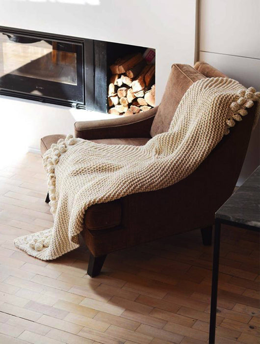 Aran Knitted Throw Blanket