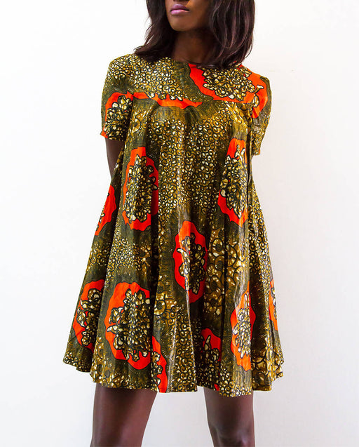 The Nama Collection Women's High Neckline African Print Casual Dress