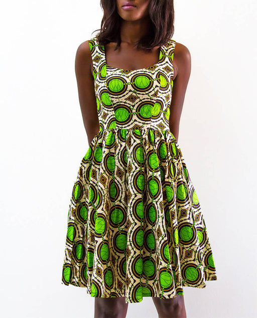 The Nama Collection Women's Lower Neckline African Print Dress