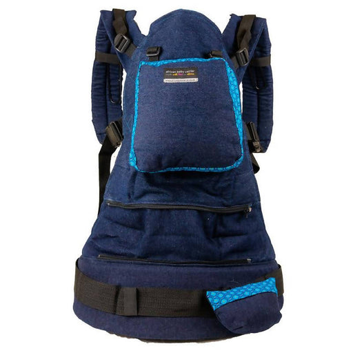 African Baby Carrier Denim-Shweshwe Deluxe (Carrier includes all accessories. carry bag, detachable moonbag)