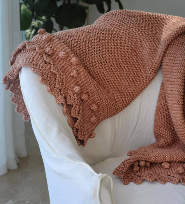 Bobble Lacy Edge Luxury Knitted Throw blanket