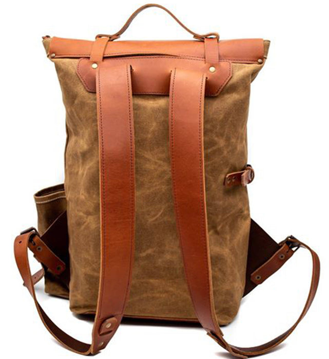 Brothers & Son The Wayfarer Bushveld Tan Canvas and Leather Backpack