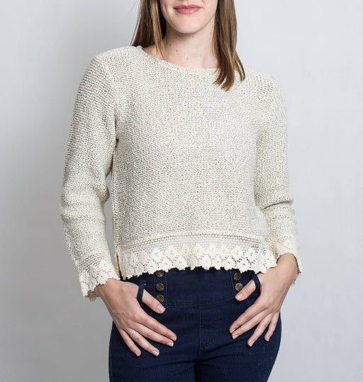 Cotton Girls Handcrafted Lace Top, Knitwear