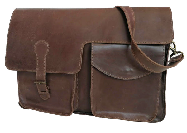 Zeri Messenger Vintage Laptop Bag, Full Grain Ethiopian Leather