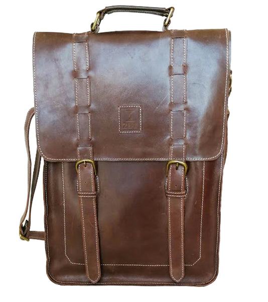 Zeri Messenger Laptop Bag for Men, Pull-Up Ethiopian Leather