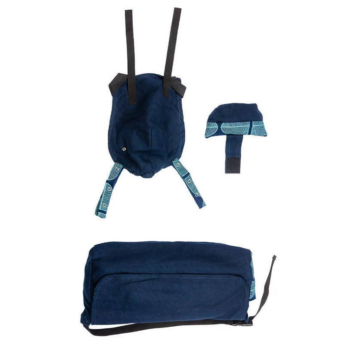 African Baby Carrier Denim Banana Leaf Deluxe (Carrier includes all accessories. carry bag, detachable moonbag)