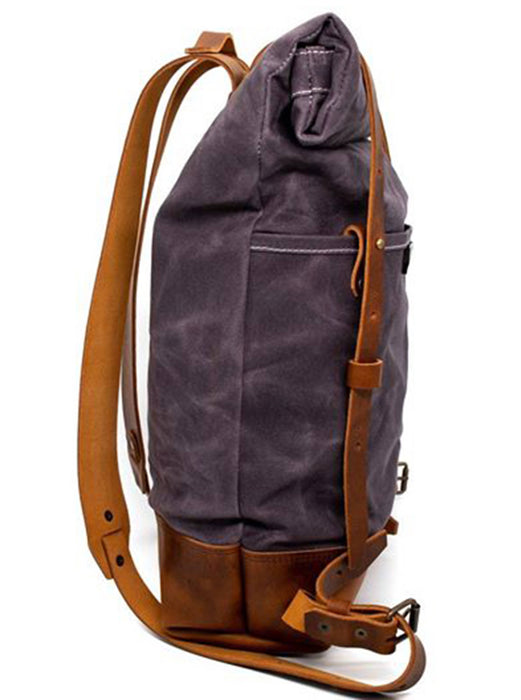 Brothers & Son The Pioneer Ash Blue Canvas and Leather Backpack