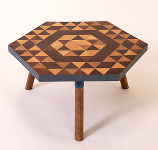 Kaowa Design Wooden Mosaic Table, Starflower 60