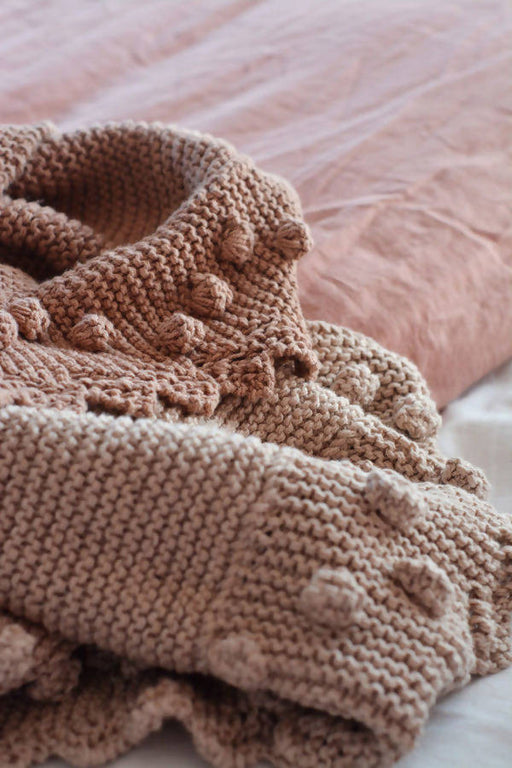 Bobble Lacy Edge Blanket, Shawl – Eco Cotton