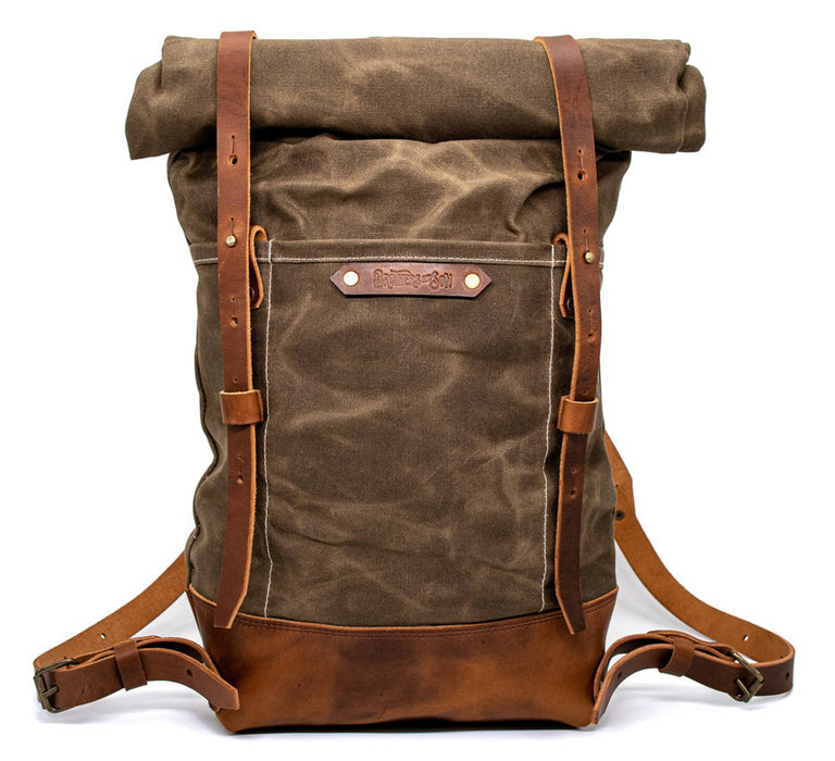 Brothers & Son The Pioneer Aloe Green Canvas and Leather Backpack