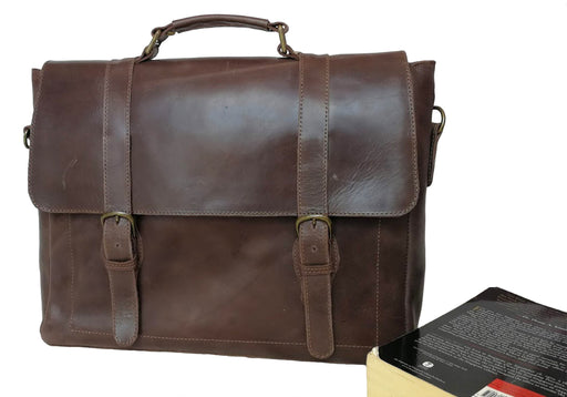 Zeri Messenger Classic Laptop Bag for Men, Full Grain Ethiopian Leather.