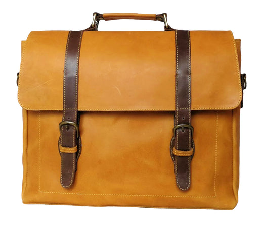 Zeri Messenger Laptop Bag for Men, Pull-Up Ethiopian Cow Leather