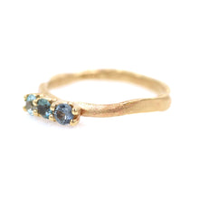 "Load image into Gallery viewer, ""Of the mountains"": 14K triple Montana sapphire ring (one of a kind)"