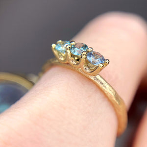 """Of the mountains"": 14K triple Montana sapphire ring (one of a kind)"