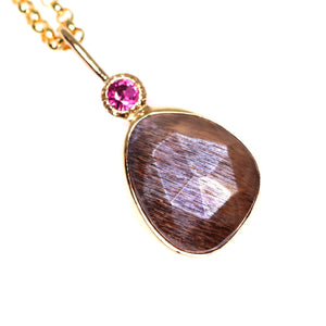 """Lucienne"": 14K & silver rosecut grey moonstone and ruby pendant"