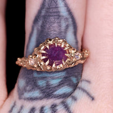 "Load image into Gallery viewer, ""Kira"": one of a kind hand-carved 14K peach gold sapphire & diamond crown ring"