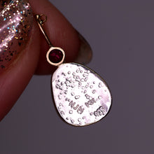 "Load image into Gallery viewer, ""Lucienne"": 14K & silver rosecut grey moonstone and ruby pendant"