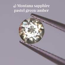 Load image into Gallery viewer, 4) Montana sapphire pastel green/amber