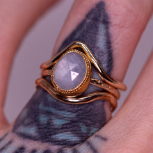 "Load image into Gallery viewer, ""Myst"": 22K & 14K rosecut silver sapphire milgrain ring"